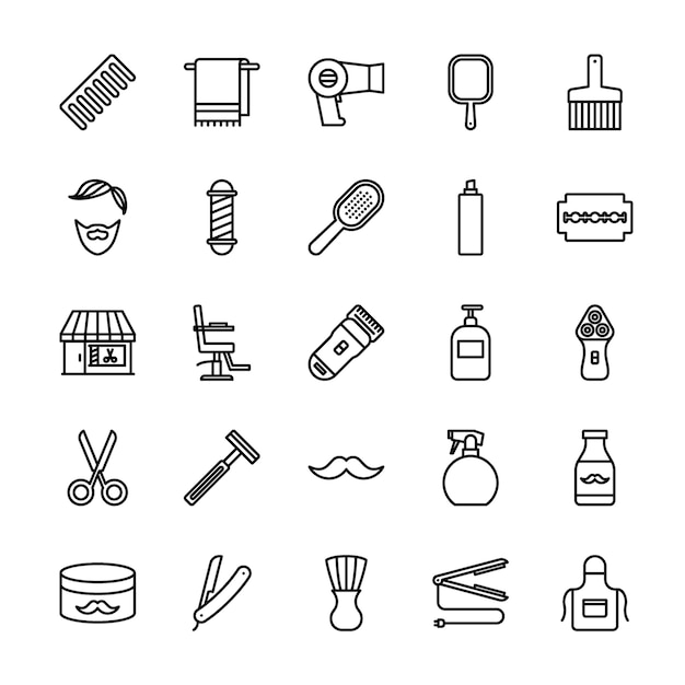 Barbershop-umriss-icon-set Premium Vektoren