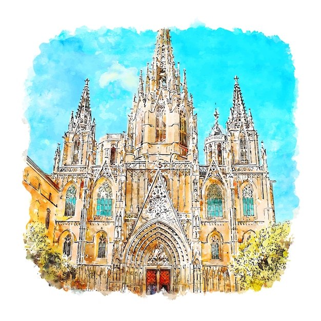 Barcelona kathedrale spanien aquarell skizze hand gezeichnete illustration Premium Vektoren