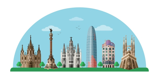 Barcelona sightseeing tour banner Premium Vektoren