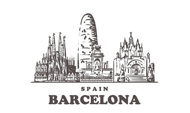 Barcelona stadtbild, spanien Premium Vektoren