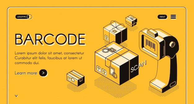 Barcode-scannen von web-bannern oder websites isometrisch mit desktop-barcodeleser, stationärer laser Kostenlosen Vektoren
