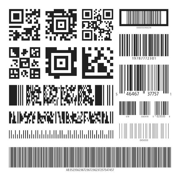 Barcode- und QR-Code-Set | Download der Premium Vektor