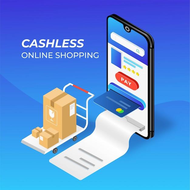Bargeldlose handy-online-shopping-illustration Premium Vektoren