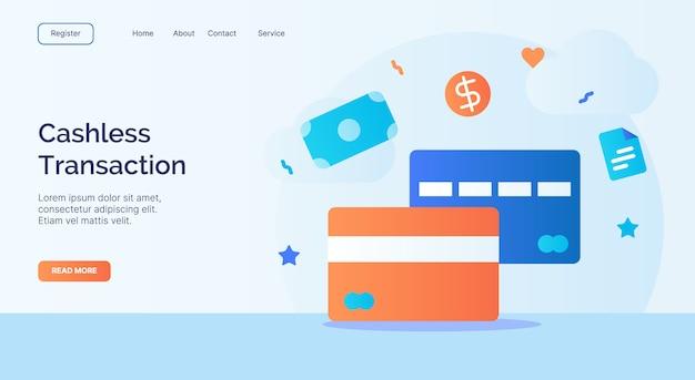 Bargeldlose transaktion debit kreditkarte icon kampagne für web-website homepage landing vorlage mit cartoon-stil. Premium Vektoren