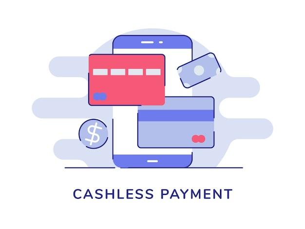 Bargeldlose zahlung smartphone kredit debitkarte Premium Vektoren