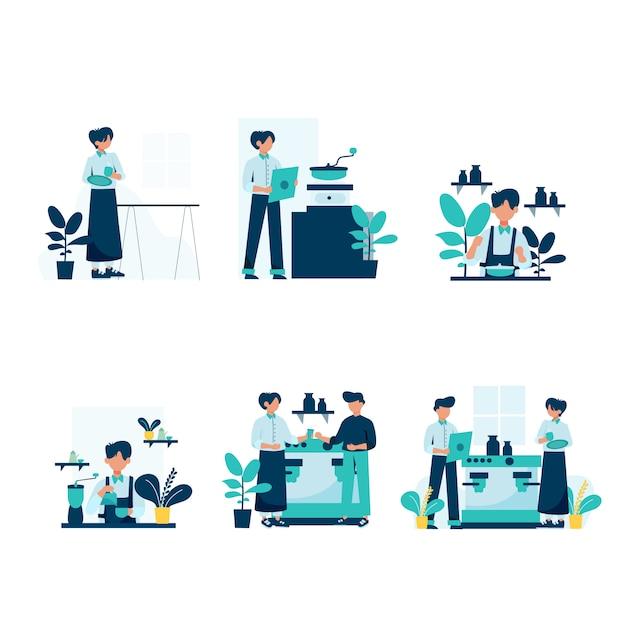 Barista macht und bedient kunden in der coffeeshop-illustration Premium Vektoren