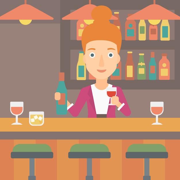Barkeeper an der theke stehen. Premium Vektoren