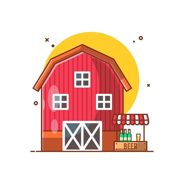 Barn house und stall beer illustration Premium Vektoren