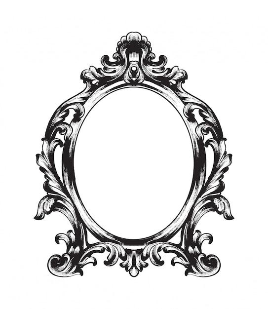 Barocker spiegelrahmen Premium Vektoren