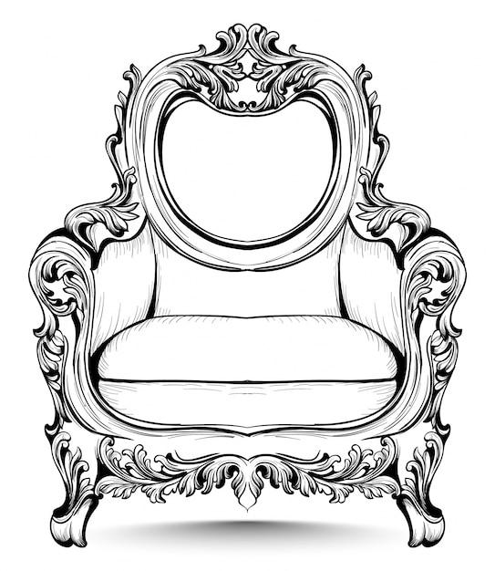Barocker Stuhl mit luxuriösen Ornamenten. Französische Luxus reiche ...