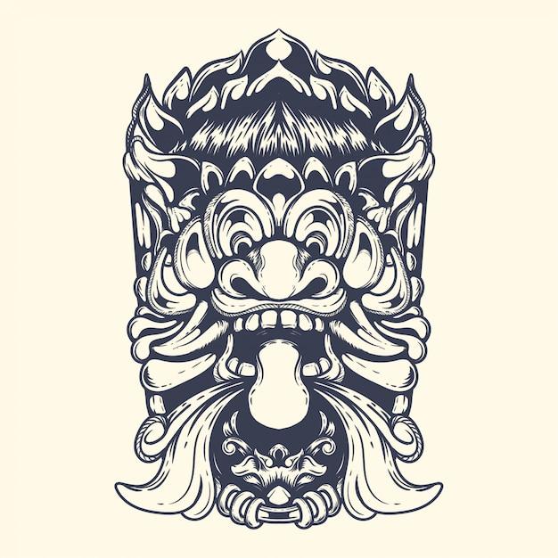 Barong balinesische teufel mythologie kunstwerk illustration Premium Vektoren