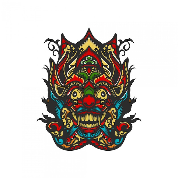 Barong maske mit hand gezeichneter illustration Premium Vektoren