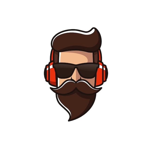 Bart mann mit kopfhörer logo vorlage Premium Vektoren