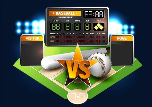 Baseball diamond und baseball anzeigetafel Premium Vektoren