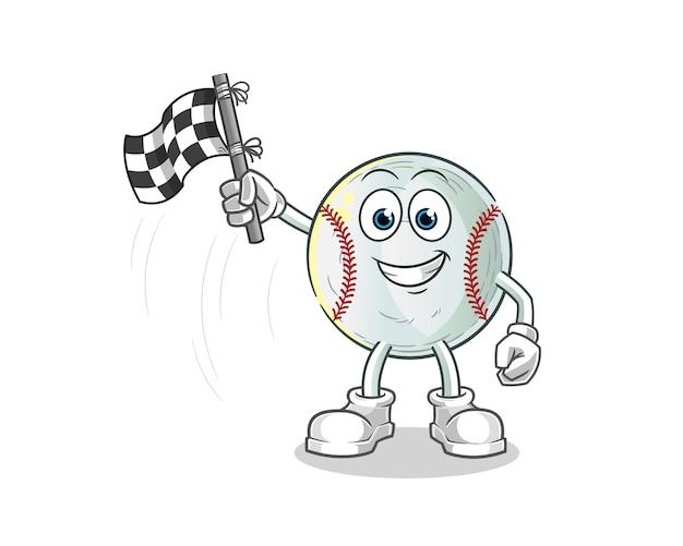 Baseball-finish flaggenhalter cartoon illustration Premium Vektoren