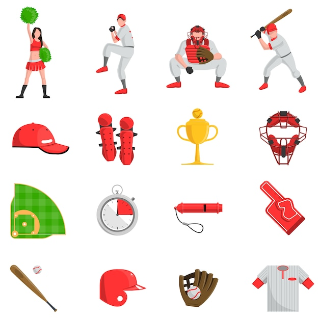 Baseball flach eingestellt Kostenlosen Vektoren