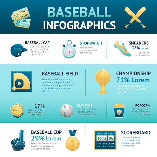 Baseball-infografiken-set Kostenlosen Vektoren