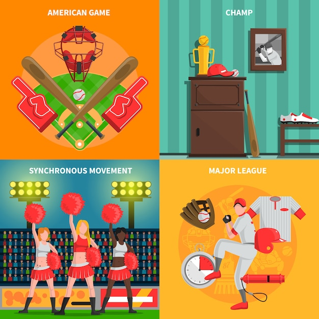 Baseball-konzept-set Kostenlosen Vektoren