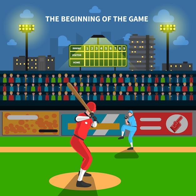 Baseball-spiel-illustration Kostenlosen Vektoren
