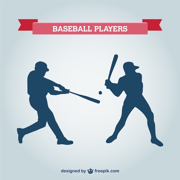 Baseball-spieler vektor-silhouetten Kostenlosen Vektoren