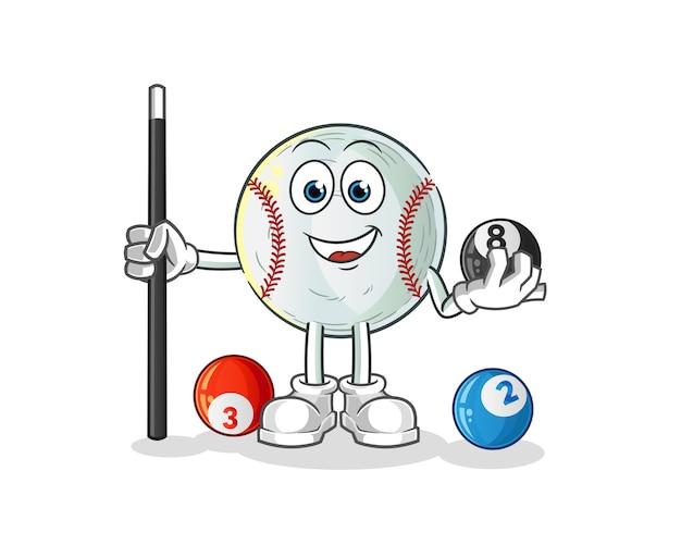 Baseball spielt billardcharakter cartoon maskottchen Premium Vektoren