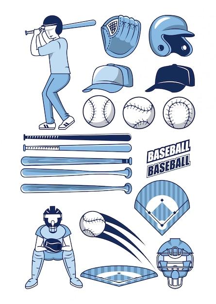 Baseball sport icons sammlung Premium Vektoren