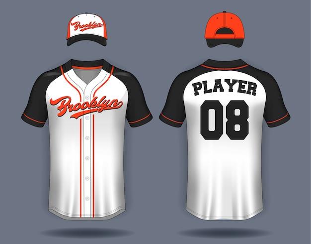 Baseball-t-shirt-spott oben. Premium Vektoren