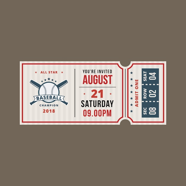 Baseball Ticket Einladung | Download der Premium Vektor