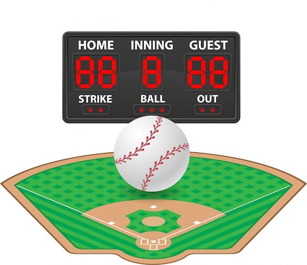 Baseball trägt digitale anzeigetafelvektorillustration zur schau Premium Vektoren
