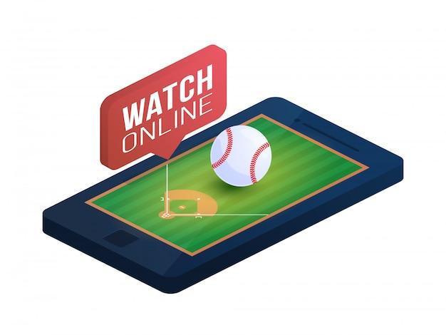 Baseballfeld auf telefonbildschirm online-konzept isometrische illustration. isometrisches online-baseball-konzept. Premium Vektoren