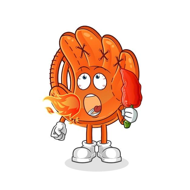 Baseballhandschuh essen heißes chilimaskottchen Premium Vektoren