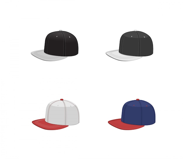 Baseballmützen-sammlung. hip hop design hut set. isolierte vektorillustration Premium Vektoren