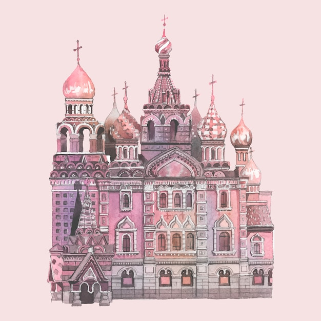 Basilius kathedrale gemalt von aquarell Kostenlosen Vektoren