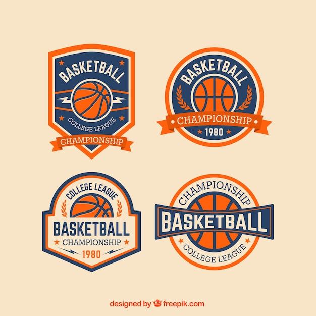 Basketball abzeichen packen Kostenlosen Vektoren