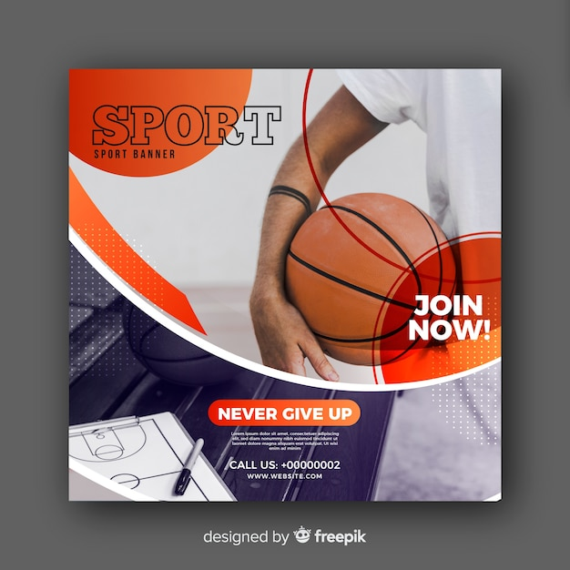 Basketball-athlet banner mit foto Kostenlosen Vektoren