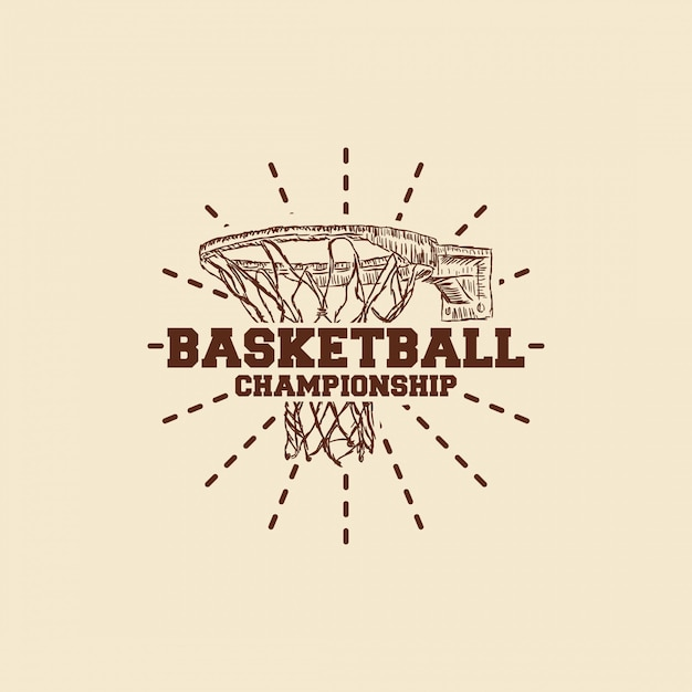 Basketball hand gezeichnetes logo Premium Vektoren