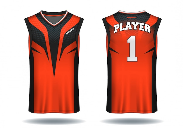 Basketball jersey, trägershirt-sportillustration. Premium Vektoren