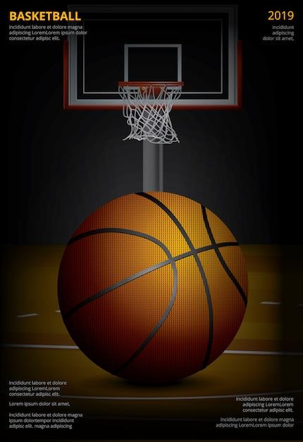 Basketball-plakat-werbungs-vektor-illustration Premium Vektoren