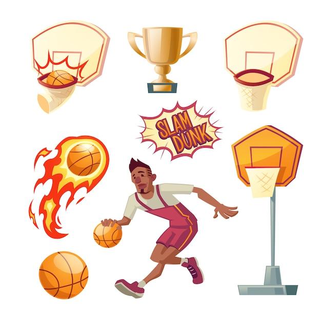 Basketball-set - athletischer sportler in uniform mit orangefarbener kugel, verschiedene körbe Kostenlosen Vektoren