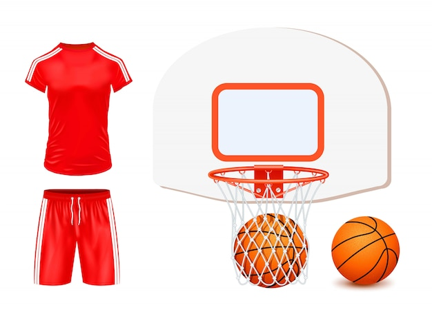 Basketball set illustration isoliert Kostenlosen Vektoren