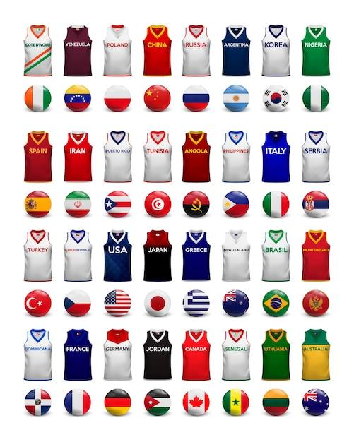 Basketball-shirts. sammlung von t-shirts und flaggen der nationalmannschaften. Premium Vektoren