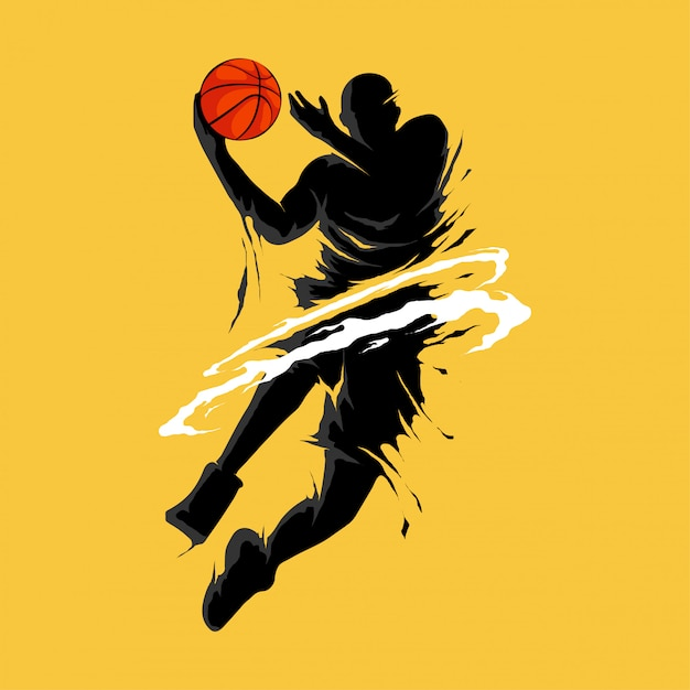 Basketball slam dunk flamme silhouette spieler Premium Vektoren