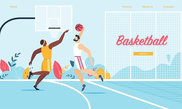 Basketball-spieler in aktion. angriffs-mann, der ball in korb setzt Premium Vektoren