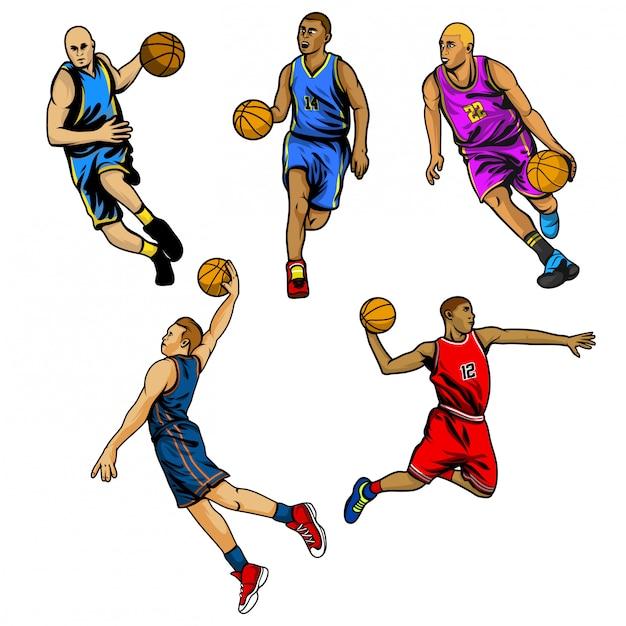 Basketball-spieler-vektor festgelegt Premium Vektoren