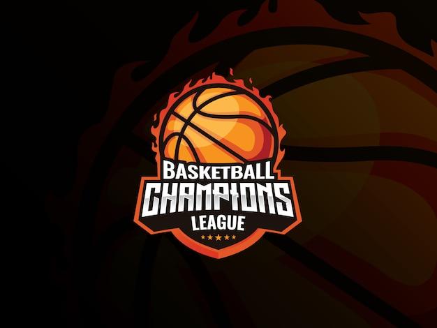 Basketball sport logo design. basketball auf feuer vektor-illustration. basketball champions league, Premium Vektoren