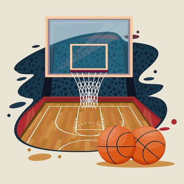 Basketball sport spielelandschaft Kostenlosen Vektoren