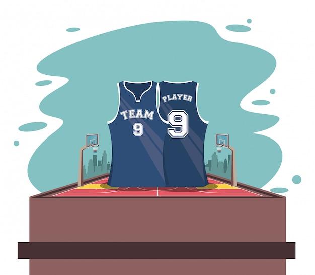Basketball-sportspiel-landschaftskarikatur Kostenlosen Vektoren