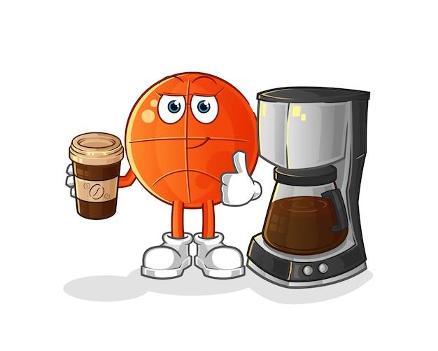 Basketball trinkende kaffeeillustration. charakter Premium Vektoren