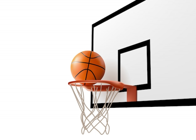 Basketballball, der in ringnetz am rückenbrett fällt Kostenlosen Vektoren