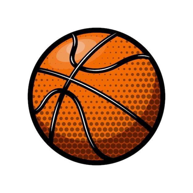 Basketballballillustration auf weißem hintergrund. element für logo, etikett, emblem, zeichen. illustration Premium Vektoren